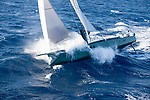 Nacira 67 designed by Axel de Beaufort .<br /> The result is a wide planning hull shape equipped with a canting keel, twin rudder direction system and a 30 m high rotating mast.