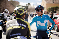 fellow countrymen Nairo Quintana (COL/Movistar) & Esteban Chaves (COL/Mitchelton-Scott) chatting prior to the race start<br /> <br /> Stage 6: Peynier to Brignoles (176km)<br /> 77th Paris - Nice 2019 (2.UWT)<br /> <br /> ©kramon