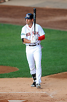 Boston Red Sox outfielder Jacoby Ellsbury #2 comes to the plate for the Pawtucket Red Sox during a game versus the Syracuse Chiefs at McCoy Stadium in Pawtucket, Rhode Island on July 7, 2012. Ellsbury is with PawSox on a rehabilitation assignment.   (Ken Babbitt/Four Seam Images)