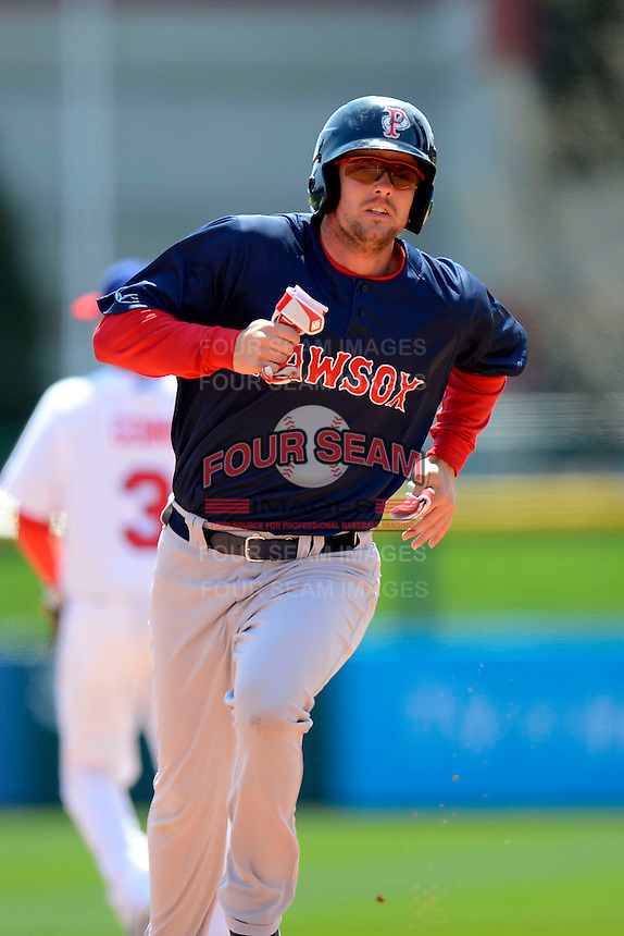 Pawtucket Red Sox third baseman Mark Hamilton #40 during the first game of a doubleheader against the Buffalo Bisons on April 25, 2013 at Coca-Cola Field in Buffalo, New York.  Pawtucket defeated Buffalo 8-3.  (Mike Janes/Four Seam Images)