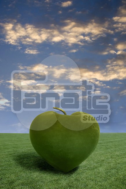 Grass rendering an apple