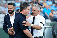 31st January 2020; Netstrata Jubilee Stadium, Sydney, New South Wales, Australia; A League Football, Sydney FC versus Brisbane Roar; Robbie Fowler coach of Brisbane Roar and coach Steve Corica of Sydney greet each other before kick off