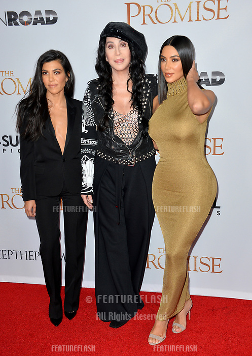 Cher &amp; Kim Kardashian West &amp; Kourtney Kardashian at the premiere for &quot;The Promise&quot; at the TCL Chinese Theatre, Hollywood. Los Angeles, USA 12 April  2017<br /> Picture: Paul Smith/Featureflash/SilverHub 0208 004 5359 sales@silverhubmedia.com