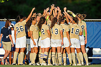 27 August 2011:  FIU's team gathers prior to the start of the match.  The FIU Golden Panthers defeated the University of Arkon Zips, 1-0, at University Park Stadium in Miami, Florida.