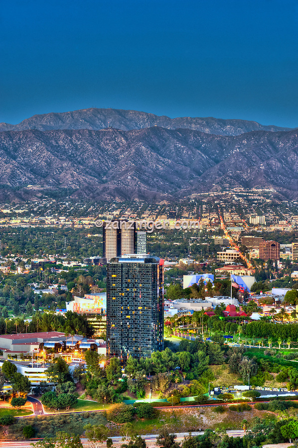 Hilton Hotel, Universal City; CA; overlook; San Fernando Valley; San Gabriel mountain; Universal Studios; Burbank; Glendale; CA; , Vertical Image