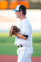 Hudson Valley Renegades first baseman Casey Gillaspie (43) on defense against the Brooklyn Cyclones at Dutchess Stadium on June 18, 2014 in Wappingers Falls, New York.  The Cyclones defeated the Renegades 4-3 in 10 innings.  (Brian Westerholt/Four Seam Images)