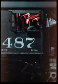 Close view of #487 K-36 engine cab - engineer.<br /> C&amp;TS  Chama, NM