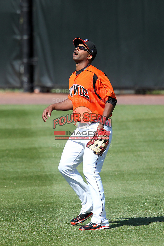 Bowie BaySox outfielder Edgardo Baez #39 during a game against the Harrisburg Senators at Prince George's Stadium on April 8, 2012 in Bowie, Maryland.  Harrisburg defeated Bowie 5-2.  (Mike Janes/Four Seam Images)