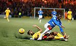 25.09.2018 Livingston v Rangers: Aymen Souda tackles Sheyi Ojo