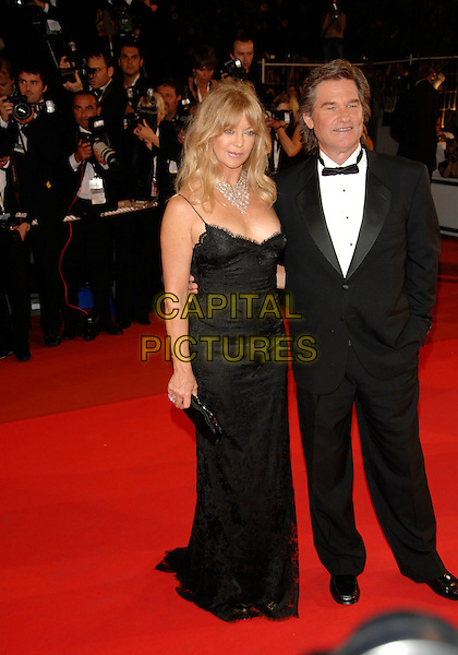 "GOLDIE HAWN & KURT RUSSELL .Red Carpet Arrivals at the premiere of ""Death Proof"" held at the Palais des Festivals during the 60th International Film Festival, Cannes, France, 22nd May 2007..full length black dress suit bow tie tuxedo couple.CAP/PL.©Phil Loftus/Capital Pictures"