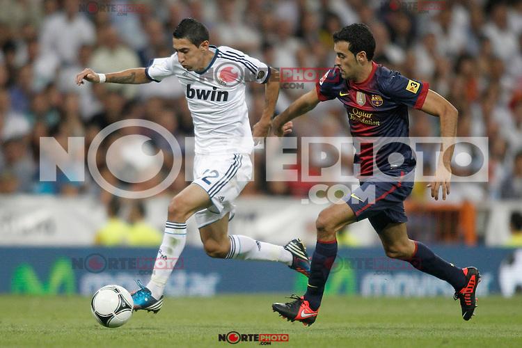Real Madrid's Di Maria and Barcelona's Sergio Busquets during Super Copa of Spain on Agost 29th 2012...Photo:  (ALTERPHOTOS/Ricky) Super Cup match. August 29, 2012. <br />  (foto:ALTERPHOTOS/NortePhoto.com<br /> <br /> **CREDITO*OBLIGATORIO** <br /> *No*Venta*A*Terceros*<br /> *No*Sale*So*third*<br /> *** No*Se*Permite*Hacer*Archivo**<br /> *No*Sale*So*third*