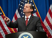 United States Secretary of Labor Alex Acosta calls on a reporter as he holds a press conference at the Department of Labor in Washington, DC on Wednesday, July 10, 2019.  He was discussing his prosecution of Jeffrey Epstein in Florida in 2008.<br /> Credit: Ron Sachs / CNP<br /> (RESTRICTION: NO New York or New Jersey Newspapers or newspapers within a 75 mile radius of New York City)