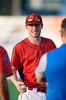 Williamsport Crosscutters Jake Holmes (17) warms up before a game against the Mahoning Valley Scrappers on August 28, 2018 at BB&T Ballpark in Williamsport, Pennsylvania.  Williamsport defeated Mahoning Valley 8-0.  (Mike Janes/Four Seam Images)