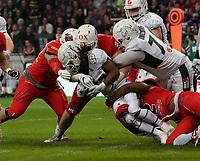 RB Jerome Manyema(Schwäbisch Hall Unicorns) wird gestoppt - 12.10.2019: German Bowl XLI Braunschweig Lions vs. Schwäbisch Hall Unicorns, Commerzbank Arena Frankfurt