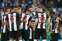 Newcastle United pre match team huddle during the Premier League match between Leicester City and Newcastle United at the King Power Stadium, Leicester, England on 29 September 2019. Photo by Andy Rowland.