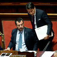 Matteo Salvini and Giuseppe Conte<br /> Rome March 20th 2019. Senate vote on the immunity from prosecution for the Minister of Internal Affairs Matteo Salvini.  Last August 20th a ship, carrying 177 migrants (among them many minors) docked in the harbour of Catania but Minister Salvini took the decision to block migrants of Diciotti ship at sea. For that reason the magistracy accused the minister of kidnapping.<br /> Foto Samantha Zucchi Insidefoto