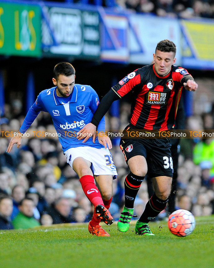 Ben Close of Portsmouth left plays a pass despite the attention of Baily Cargill of AFC Bournemouth during Portsmouth vs AFC Bournemouth, Emirates FA Cup Football at Fratton Park