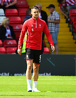 Lincoln City's Jason Shackell during the pre-match warm-up<br /> <br /> Photographer Andrew Vaughan/CameraSport<br /> <br /> The EFL Sky Bet League Two - Lincoln City v Swindon Town - Saturday August 11th 2018 - Sincil Bank - Lincoln<br /> <br /> World Copyright &copy; 2018 CameraSport. All rights reserved. 43 Linden Ave. Countesthorpe. Leicester. England. LE8 5PG - Tel: +44 (0) 116 277 4147 - admin@camerasport.com - www.camerasport.com