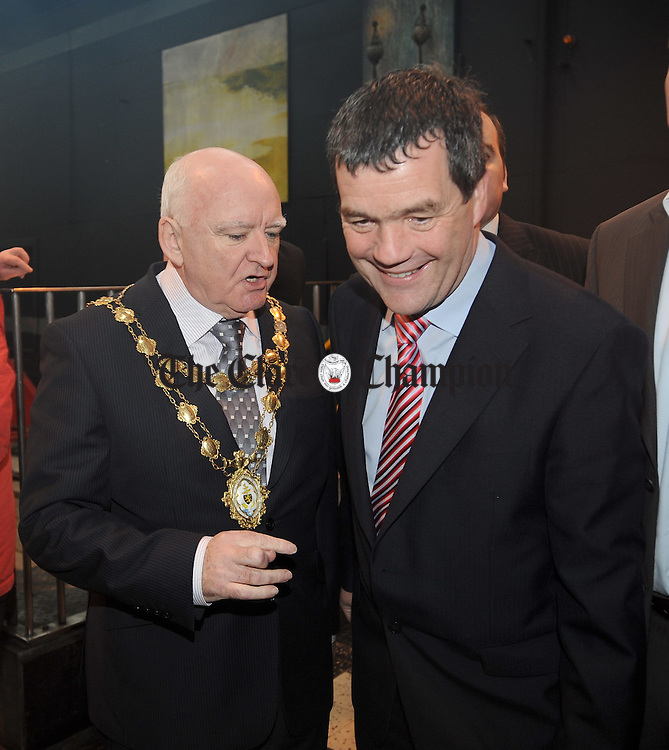 Mayor of Galway Declan Mc Donnell with Minister Noel Dempsey at Galway station on the opening day of the Phase one of the Western Rail Corridor to Athenry. Photograph  by John Kelly.