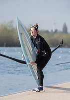 Caversham. Berkshire. UK<br /> Milissa WILSON, boating to competer in the semi final of the women's single sculls at the 2016 GBRowing U23 Trials at the GBRowing Training base near Reading, Berkshire.<br /> <br /> Tuesday  12/04/2016<br /> <br /> [Mandatory Credit; Peter SPURRIER/Intersport-images]