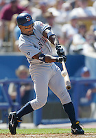 Trenidad Hubbard of the San Diego Padres bats during a 2002 MLB season game against the Los Angeles Dodgers at Dodger Stadium, in Los Angeles, California. (Larry Goren/Four Seam Images)