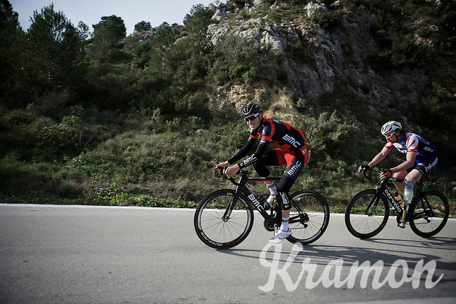 Ben Hermans (BEL/BMC) training up Coll de Rates (Alicante, Spain) being tailed by a very talented paralympic rider<br /> <br /> January 2016 Training Camps