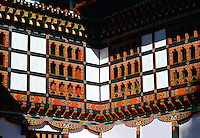 Traditional ornate carved and decorated windows, Bhutan