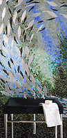 Ellen's Fish Jewel glass mosaic by Ellen McCaleb for New Ravenna Mosaics.<br />