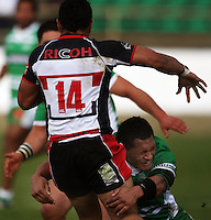 Manawatu centre Johnny Leota tackles Lelia Masaga during the Air NZ Cup rugby match between Manawatu Turbos and Counties-Manukau Steelers at FMG Stadium, Palmerston North, New Zealand on Sunday, 2 August 2009. Photo: Dave Lintott / lintottphoto.co.nz