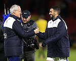 Leicester City's Claudio Ranieri celebrates at the final whistle with Riyad Mahrez<br /> <br /> - English Premier League - Watford vs Leicester City  - Vicarage Road - London - England - 5th March 2016 - Pic David Klein/Sportimage