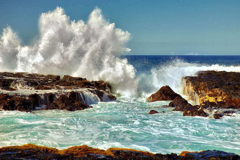 Breaking wave. Hawaii, The Big Island.