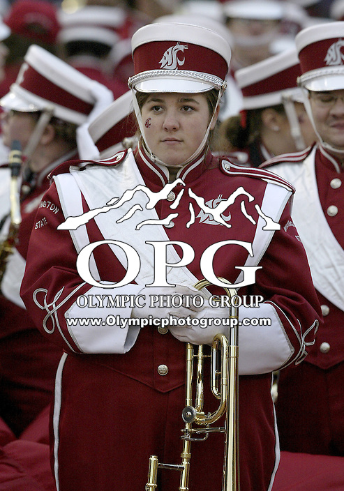 NOV 23, 2007:  Washington State band members performed before the start of the 100th Apple Cup against Washington. Washington State won 45-35 over the Washington Huskies at the University of Washington Saturday during the 100th annual Apple Cup in Seattle, WA.
