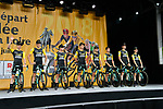 Team LottoNL-Jumbo on stage at the Team Presentations for the 105th Tour de France 2018 held on Napoleon Square in La Roche-sur-Yon, France. 5th July 2018. <br /> Picture: ASO/Bruno Bade | Cyclefile<br /> All photos usage must carry mandatory copyright credit (&copy; Cyclefile | ASO/Bruno Bade)