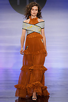 Model walks runway in an outfit by Natalia Herrera Cardozo, during the Future of Fashion 2017 runway show at the Fashion Institute of Technology on May 8, 2017.