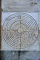 Late medieval relief sculptures of a Labyrinth , the Cattedrale di San Martino,  Duomo of Lucca, Tunscany, Italy,