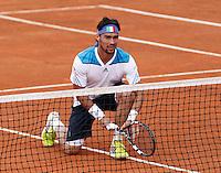 Italy's Fabio Fognini during  Davis Cup quarter-final doubles tennis match against xxx in Naples April 5, 2014.