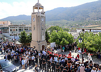 Pictured: Locals gather for the visit of Prince Charles and wife the Duchess of Cornwall at the village of Arhanes on the island of Crete, Greece. Friday 11 May 2018 <br /> Re: HRH Prnce Charles and his wife the Duchess of Cornwall visit thevillage of Arhanes near Heraklion, Greece.