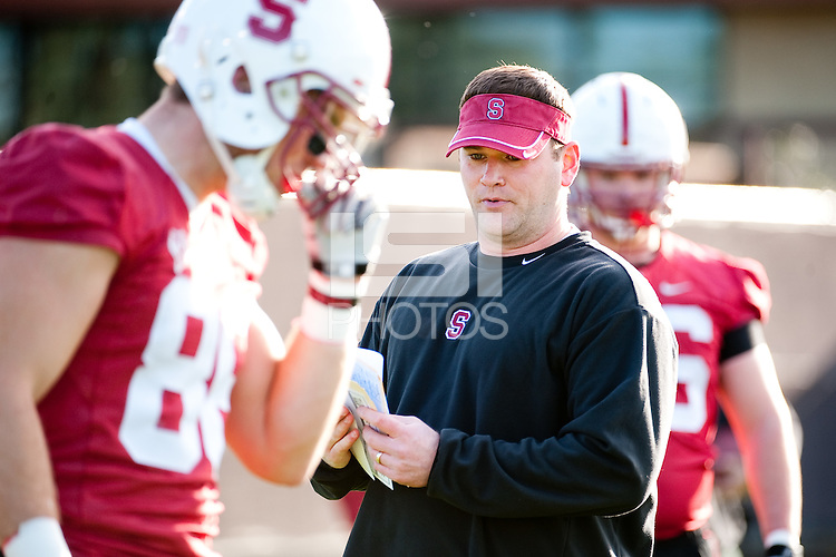 STANFORD, CA - FEBRUARY 21, 2011: Coach Mike Bloomgren, first Spring practice on the football practice fields, February 21, 2011 in Stanford, California.
