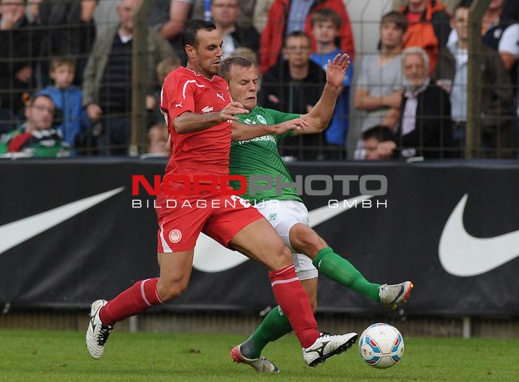 26.07.2011, MEP Arena, Meppen, GER, FSP, Werder Bremen vs Olympiakos Pir&auml;us, im Bild Moises Hurtado (Piraeus #22), Lennart Thy (Bremen #36)<br /> <br /> // during friendly match Werder Bremen vs Olympiakos Pir&auml;us on 2011/07/26,  MEP Arena, Meppen, Germany.<br /> Foto &copy; nph / Frisch