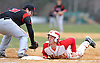 Half Hollow Hills West 2B N. 10 Tyler Delucia, right, dives back safely into first base during a Suffolk County League IV varsity baseball game against Newfield at Half Hollow Hills West High School on Wednesday, April 8, 2015. Newfield won by a score of 10-5.<br /> <br /> James Escher
