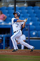 Dunedin Blue Jays center fielder Lane Thomas (3) follows through on a swing during a game against the St. Lucie Mets on April 19, 2017 at Florida Auto Exchange Stadium in Dunedin, Florida.  Dunedin defeated St. Lucie 9-1.  (Mike Janes/Four Seam Images)