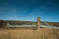 The Gattonside Suspension Bridge over the River Tweed at Melrose, Scottish Borders
