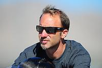 Oct. 29, 2011; Las Vegas, NV, USA: NHRA pro stock motorcycle rider Matt Smith during qualifying for the Big O Tires Nationals at The Strip at Las Vegas Motor Speedway. Mandatory Credit: Mark J. Rebilas-