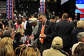 St. Paul, MN - September 1, 2008 -- United States Representative Peter King (Republican of New York) converses with a fellow delegate from New York  on day 1 of the 2008 Republican National Convention in Saint Paul, Minnesota on Monday, September 1, 2008..Ron Sachs / CNP.(RESTRICTION: NO New York or New Jersey Newspapers or newspapers within a 75 mile radius of New York City)