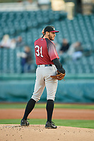 Sacramento River Cats starting pitcher Ty Blach (31) looks to the plate against the Salt Lake Bees  at Smith's Ballpark on April 12, 2019 in Salt Lake City, Utah. The River Cats defeated the Bees 4-2. (Stephen Smith/Four Seam Images)