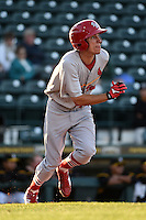 Palm Beach Cardinals outfielder Steven Ramos (15) during a game against the Bradenton Marauders on April 9, 2014 at McKechnie Field in Bradenton, Florida.  Palm Beach defeated Bradenton 3-1.  (Mike Janes/Four Seam Images)