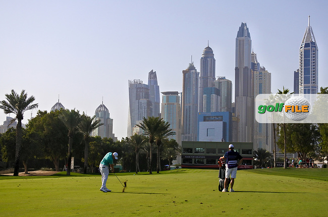 Matthew Fitzpatrick (ENG) on the 16th during Round 4 of the Omega Dubai Desert Classic, Emirates Golf Club, Dubai,  United Arab Emirates. 27/01/2019<br /> Picture: Golffile | Thos Caffrey<br /> <br /> <br /> All photo usage must carry mandatory copyright credit (&copy; Golffile | Thos Caffrey)
