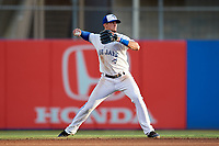 Dunedin Blue Jays second baseman Cavan Biggio (4) throws to first base during a game against the St. Lucie Mets on April 20, 2017 at Florida Auto Exchange Stadium in Dunedin, Florida.  Dunedin defeated St. Lucie 6-4.  (Mike Janes/Four Seam Images)