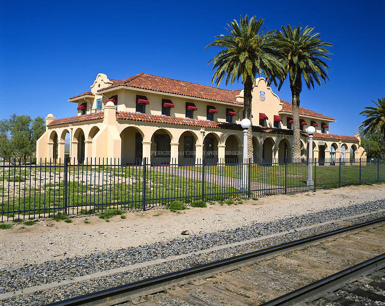 Union Pacific Railroad's Kelso Station was established in the Mojave desert of eastern California in 1905 when the San Pedro, Los Angeles & Salt Lake Railroad completed its line connecting Salt Lake with the west coast port of Los Angeles. Last passenger train crossed the tracks in 1997, freight is still transported on this line. The Kelso Depot Visitor Center of the Mojave National Preserve is now housed in the magnificent two-story Mission-style train depot, built by the Union Pacific Railroad in 1924 and now carefully renovated and preserved. Preserve Est. October 31, 1994 with the passage of the California Desert Protection Act. San Bernardino County, CA.