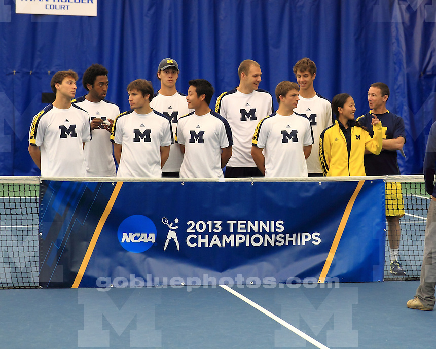 The University of Michigan men's tennis team lost to Virginia Tech, 4-2, in the first round of the 2013 NCAA Tournament at the Hilary J. Boone Tennis Complex in Lexington, Ky. on May 10,2013.